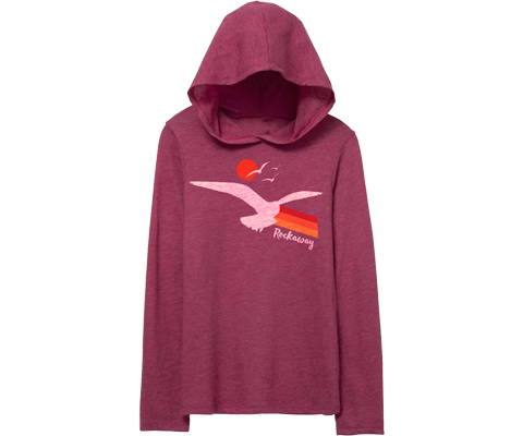 Rockaway Seagull Sunset Magenta Hooded Long Sleeve Youth Tee