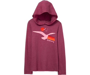 Cute Rockaway long-sleeve tee with a hood. Seagull and sunset design on a magenta youth long-sleeve tee. Handmade gifts for kids made in Brooklyn, New York.
