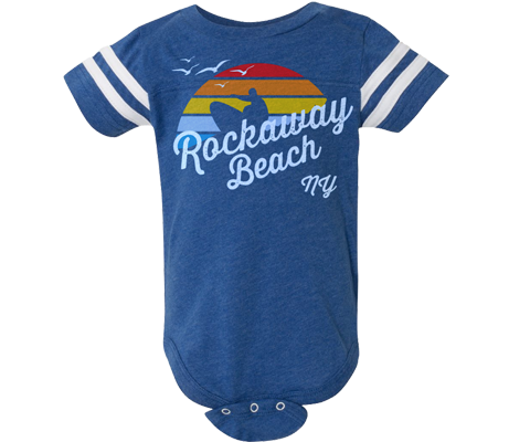 Load image into Gallery viewer, Rockaway Rainbow Surfer Blue Stripe Baby Onesie