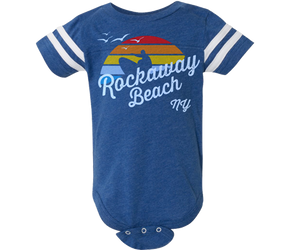 The coolest Rockaway onesie. A rainbow Surfer design with white stripes on the sleeves of a heather blue onesie. Handmade gifts for babies and parents to be made in Brooklyn New York. The perfect gift for Rockaway baby boys..