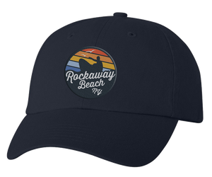 Rockaway Rainbow Surfer Embroidered Relaxed Navy Hat