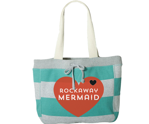 Load image into Gallery viewer, Rockaway Mermaid Heart Aqua & Gray Stripe Beach Bag