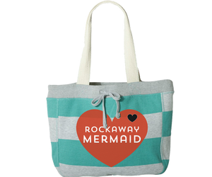Rockaway Mermaid Heart Aqua & Gray Stripe Beach Bag