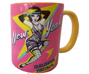 Burlesque pint glass, retro 1980s style burlesque design on a handmade mug, handmade gifts for everyone made in Brooklyn NY