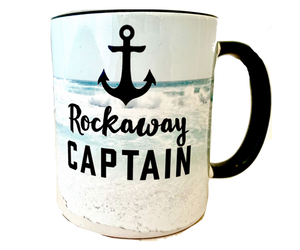 Load image into Gallery viewer, Rockaway mug, Rockaway Captain print with a anchor and ocean wave design with a black interior, handmade mug, handmade gifts made in Brooklyn NY