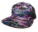 Coney Island Aqua Digital Mesh Back Tropical Surfer Hat