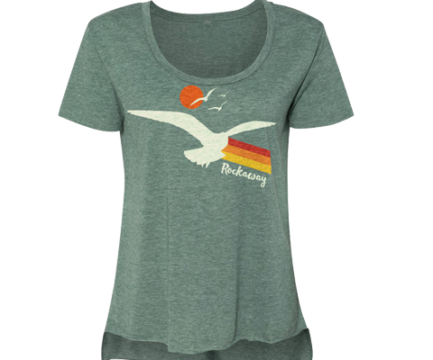 Load image into Gallery viewer, Rockaway Seagull Sunset Heather Green Tee