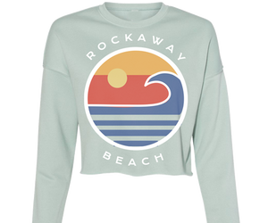 Rockaway beach crop fleece for ladies, sage with colorful ocean design,Handmade gifts for her made in Brooklyn NY