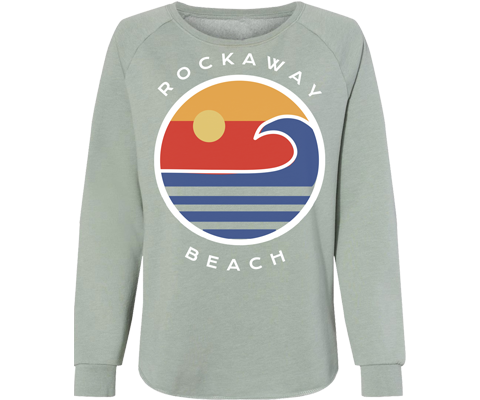 Rockaway Globe Sage Wave Wash Fleece Crew Neck