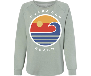 Rockaway beach sweatshirt for ladies, sage with colorful ocean design, crew neck sweatshirt, Handmade gifts for her made in Brooklyn NY