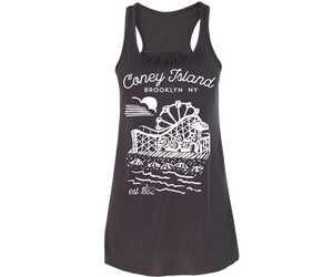 Retro coney island ladies tank top, handmade gifts for her made in Brooklyn NY