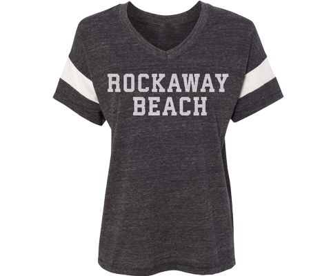 Rockaway Soft Jersey Heather Gray With White Striped Sleeves