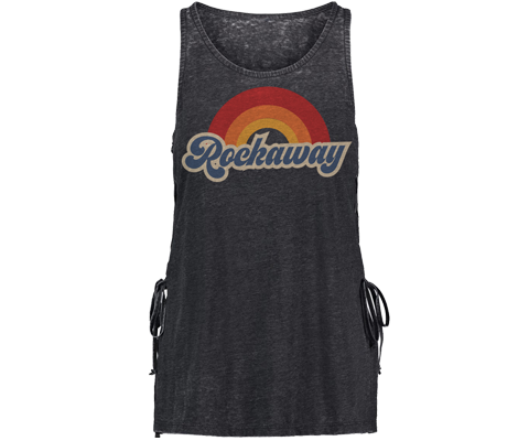 Rockaway Retro Rainbow Gray Lace Side Tank