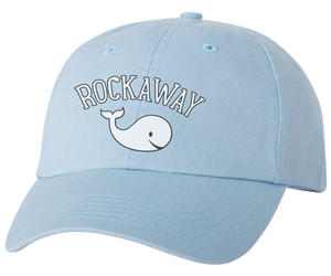 Rockaway Beach hat, adorable Rockaway whale design on a light blue classic baseball cap, hand-printed, handmade gifts for everyone made in Brooklyn NY