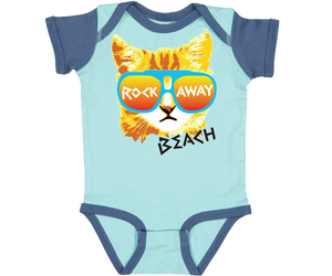 Rockaway Beach Baby Onesie, adorable Red Cat design on an aqua and blue baby onesie, handmade gifts for babies made in Brooklyn NY