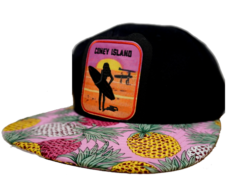 Coney Island Surfer Girl Tropical Pineapple Brim Hat