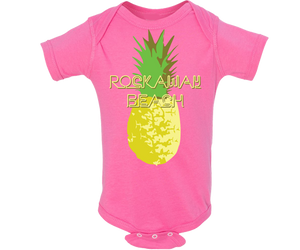 Rockaway onesie. A pineapple design on a hot pink babies onesie. Tropical handmade gift for babies and parents to be made in Brooklyn New York. With a Rockaway print.