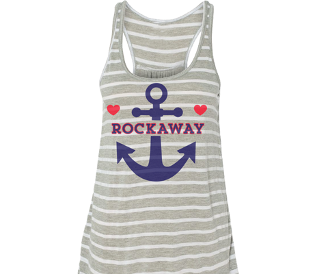 Rockaway beach tank top for ladies, nautical design with a anchor and two hearts, Handmade gifts for her made in Brooklyn NY