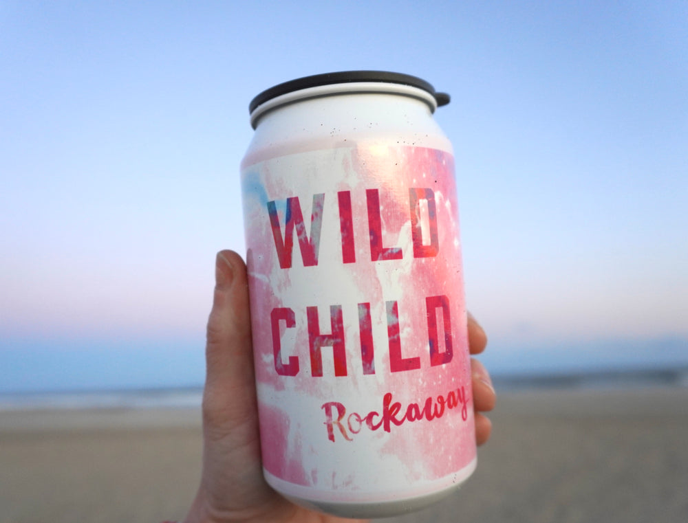 Rockaway Beach to go cocktail cup, magical Wild Child on a tie-dye backdrop with a black lid, handmade to go cocktail cup, handmade gifts made in Brooklyn NY