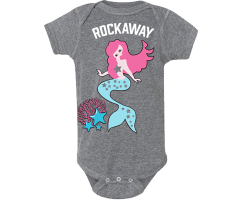 A Rockaway onesie. Mermaid and coral design on a Heather gray baby's onesie. A must-have. Handmade gift for babies and parents to be made in Brooklyn New York. The perfect onesie for a baby girl.