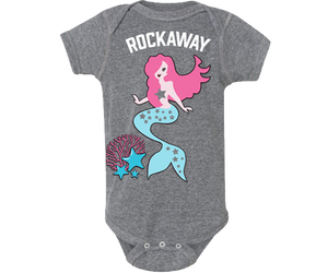 Rockaway Coral Mermaid Gray Baby Onesie
