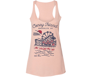 Load image into Gallery viewer, Coneytown Heather Peach Racer Tank