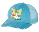 Rockaway Rad Cat Aqua Distressed Mesh Back Hat
