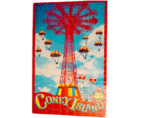 Coney Island puzzle, vintage parachute drop design with a red frame on a sky blue backdrop, handmade puzzle, handmade gifts made in Brooklyn NY