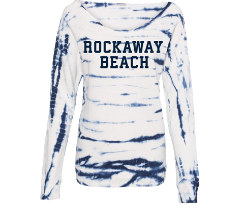 Rockaway beach sweatshirt for ladies, cool tie dye design,super comfortable and soft,Handmade gifts for her made in Brooklyn NY