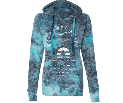 Rockaway beach sweatshirt for ladies, classic mermaid design, tie dye print,Handmade gifts for her made in Brooklyn NY