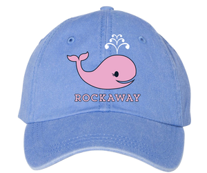 Rockaway Beach hat, adorable pink Rockaway whale design on a sky blue classic baseball cap, hand-printed, handmade gifts for everyone made in Brooklyn NY