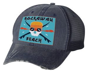 Load image into Gallery viewer, Rockaway Surfer Skull Embroidered Navy Distressed Mesh Back Hat