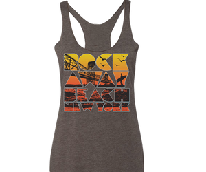 Rockaway beach tank top for ladies, retro 70's colors,Handmade gifts for her made in Brooklyn NY