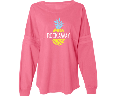 Rockaway beach sweatshirt for ladies, fun pineapple design, super soft and cozy, Handmade gifts made in Brooklyn NY