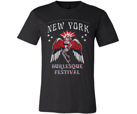 New York t-shirt for adults, retro 80s style burlesque design on a black T-shirt, handmade gifts for everyone made in Brooklyn NY