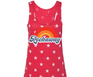 Rockaway beach tank top for ladies ,  colorful rainbow design, star print,Handmade gifts for her made in Brooklyn,NY