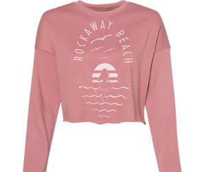 Rockaway beach crop fleece for ladies, mauve with a classic mermaid design,Handmade gifts for her made in Brooklyn NY