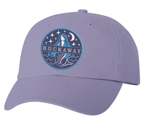 Rockaway Beach hat, Rockaway Starlight mermaid patch design on a classic embroidered lilac baseball cap, hand-applied patch, handmade gifts for everyone made in Brooklyn NY