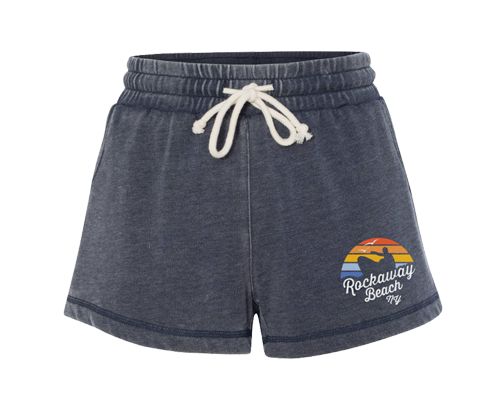 Rockaway Rainbow Surfer Navy Fleece Shorts