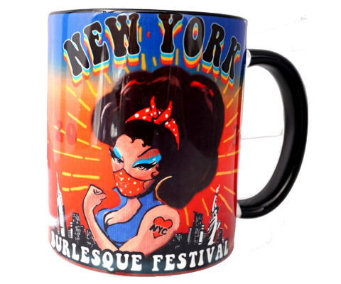 Load image into Gallery viewer,  burlesque mug, fun, flirty burlesque design with a modern Twist on a handmade mug, handmade gifts for everyone made in Brooklyn NY