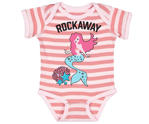 Rockaway Coral Mermaid Striped Baby Onesie