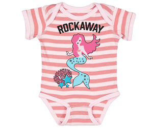 Rockaway Beach onesie, Fun Mermaid and coral design on a coral stripe babies onesie, handmade gifts for babies made in Brooklyn NY