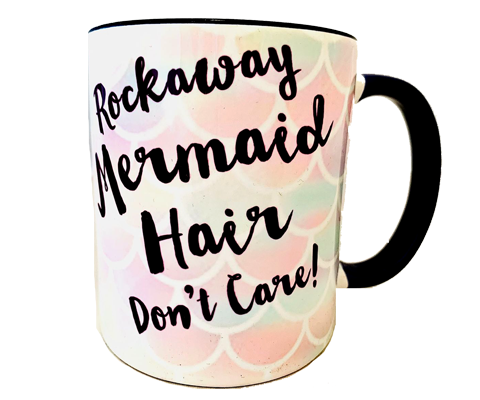 Rockaway Beach mug, fun Rockaway mermaid hair don't care print on a pastel mermaid scale backdrop with a black interior handmade mug, handmade gifts made for everyone in Brooklyn NY