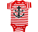 Rockaway Red Stripe Anchor Baby Onesie