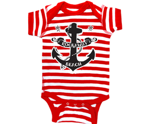 Load image into Gallery viewer, Rockaway Red Stripe Anchor Baby Onesie