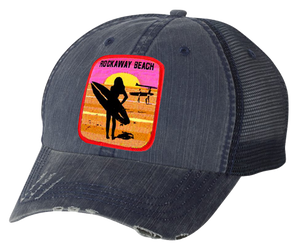 Copy of Rockaway Surfer Girl Patch Distressed Navy Mesh Back Hat