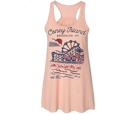 * Coneytown Heather Peach Flowy Tank