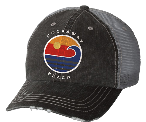 Rockaway Globe Distressed Gray Mesh Back Hat