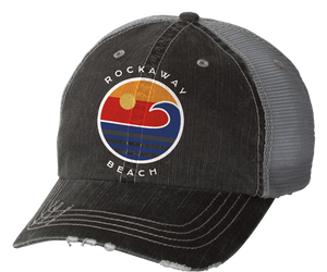 Load image into Gallery viewer, Rockaway Globe Distressed Gray Mesh Back Hat