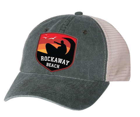 Rockaway Surfer Sunset Embroidered Forest/Stone Mesh Back Hat